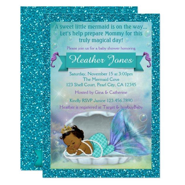 Adorable Mermaid Baby Shower Invitations #135 DARK | Zazzle