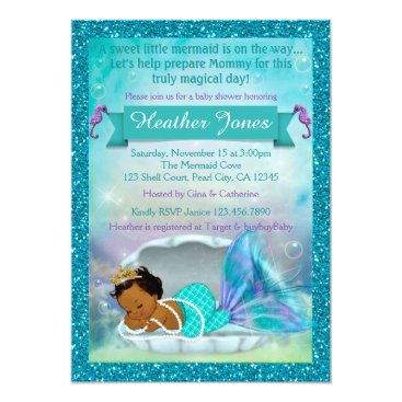 Beach Themed Adorable Mermaid Baby Shower Invitations #135 DARK