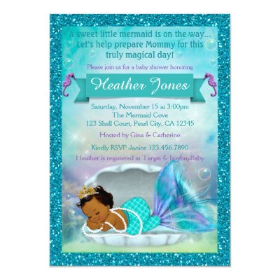 Adorable Mermaid Baby Shower Invitations #136 MED | Zazzle.com