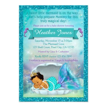 Beach Themed Adorable Mermaid Baby Shower Invitations #136 MED