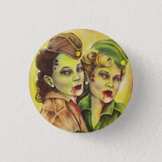 Adorable military zombie women button