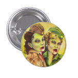 Adorable military zombie women button