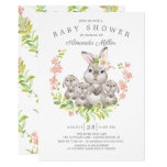 Adorable Mom & Baby Bunnies Triplets Baby Shower Invitation