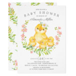 Adorable Mom & Baby Chicks Triplets Baby Shower Invitation