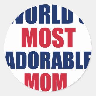 Adorable mom classic round sticker