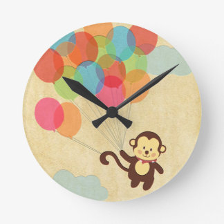 Adorable Monkey Flying Away with Balloons Round Clock