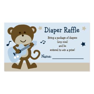 Adorable Monkey Rockstar Diaper Raffle Tickets Business Card