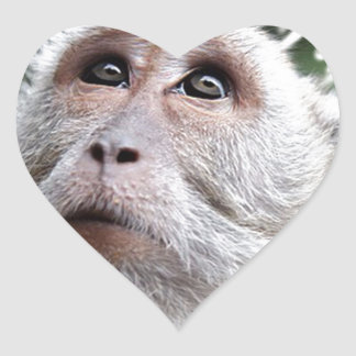 adorable monkey heart stickers
