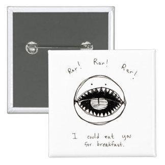 Adorable monster face original line art drawing pin