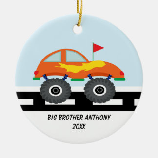 Adorable Monster Truck Big Brother Ornament