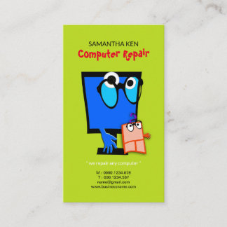 Adorable Mouse Cute Blue PC Repair Business Card