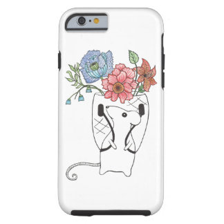 Adorable mouse flower seller. tough iPhone 6 case