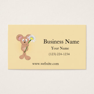 Adorable Mouse with Daisy Business Card