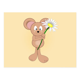Adorable Mouse with Daisy Postcard