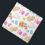 """Adorable Multicolor Cartoon Style Cats Paw Prints Bandana<br><div class=""""desc"""">This adorable,  multicolor,  cartoon style,  cats and paw prints,  bandana makes a great gift for the cat lover. The cute pattern features cartoon style,  cats,  paw prints,  and pet dishes in multiple colors. Perfect for cat lovers. Image &#169;Prettygrafik.com</div>"""