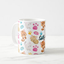 Adorable Multicolor Cartoon Style Cats Paw Prints Coffee Mug