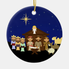 Adorable Nativity Personalized Christmas Ceramic Ornament at Zazzle