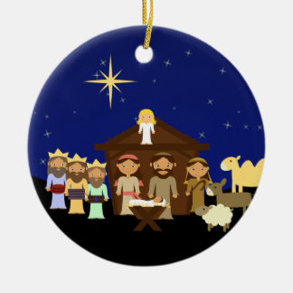 Adorable Nativity Scene Christmas Ceramic Ornament
