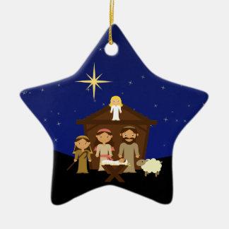 Adorable Nativity Scene Christmas Star Ornament