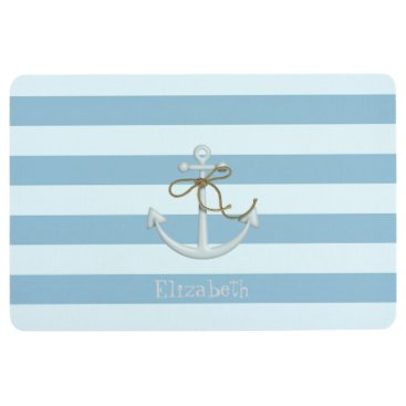 Beach Themed Adorable Nautical Anchor on Light Blue  Stripes Floor Mat