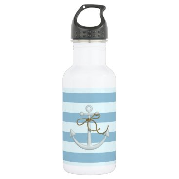 Beach Themed Adorable Nautical Anchor on Light Blue  Stripes Water Bottle