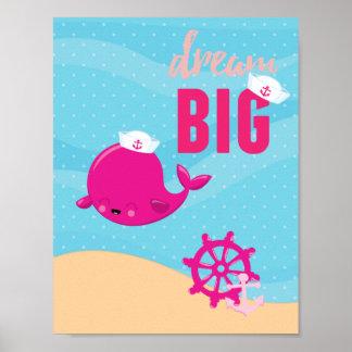Adorable nautical whale - girl poster
