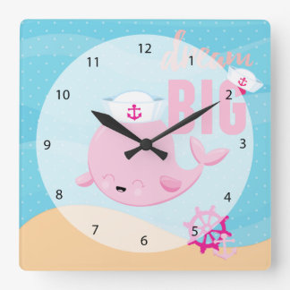 Adorable nautical whale - girl square wall clock
