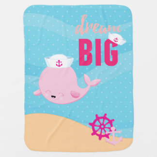 Adorable nautical whale - girl swaddle blanket
