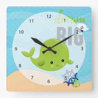 Adorable nautical whale square wall clock