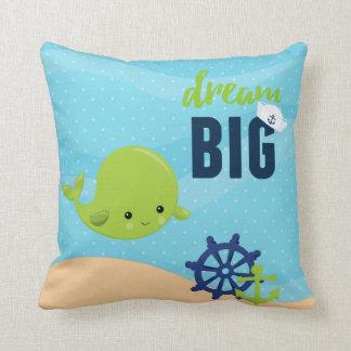 Adorable nautical whale throw pillow