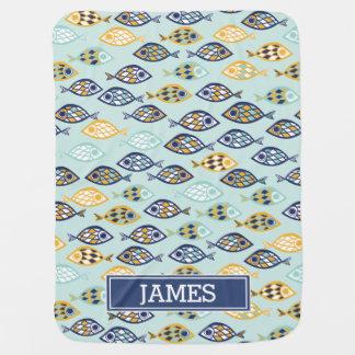 Adorable Navy Blue Nautical Ocean Fish Monogrammed Swaddle Blanket