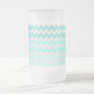 Adorable Ombre, Zigzag ,Chevron Pattern Frosted Glass Beer Mug