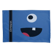 Adorable One Eyed Monster Face Funny Kids Blue Pillowcase
