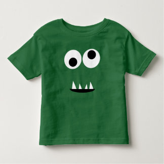 Adorable One Eyed Monster Face Funny Kids Green Toddler T-shirt