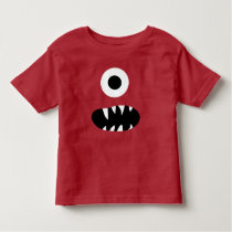 Adorable One Eyed Monster Face Funny Kids Red Toddler T-shirt