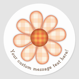 Adorable Orange Country Plaid Graphic Flower Icon Classic Round Sticker