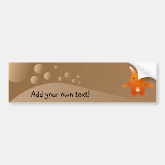 adorable orange rabbit. car bumper sticker