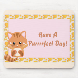 Adorable Orange Tabby Tiger Kitten Mouse Pad
