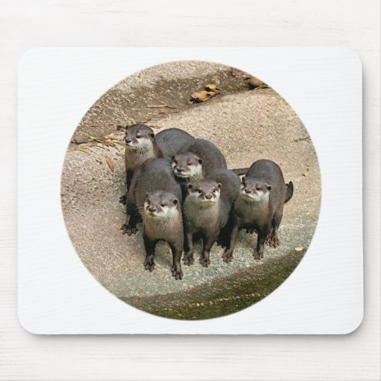 Adorable Otter Family Mouse Pad