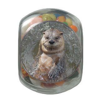 Adorable Otter on His Back Glass Candy Jar