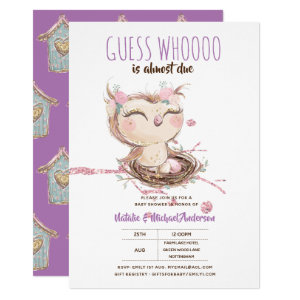 Adorable OWL Baby Shower Guess Whooo Is Almost Due Invitation