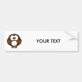 Adorable Owl Cartoon Art Bumper Sticker