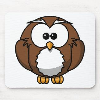 Adorable Owl Cartoon Art Mouse Pad