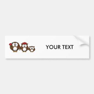 Adorable Owl Family Bumper Sticker
