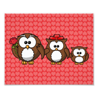 Adorable Owl Family Hearts Photographic Print