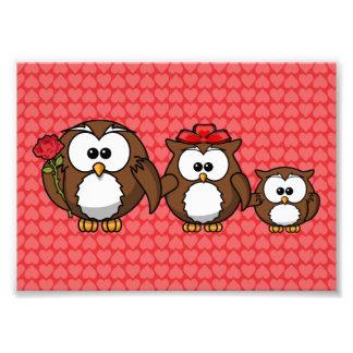 Adorable Owl Family Hearts Photograph