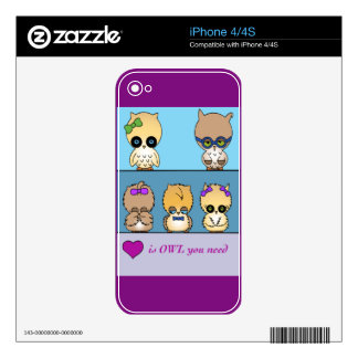 Adorable owl family purple phone decal skins for the iPhone 4S