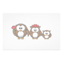 Adorable Owl Family Stationery