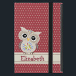 """Adorable Owl in Polkadots Powis iPad Mini Case<br><div class=""""desc"""">The owl is in shades of beige and chocolate brown wings and legs. The body and head have flowery patterns. The background is filled with beige polkadots in Marsala. The bar is in beige and chocolate brown. The text is in Marsala and it&#39;s customizable. This is a digital illustration.</div>"""