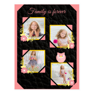Adorable Owl Pink Replace the Images Postcard